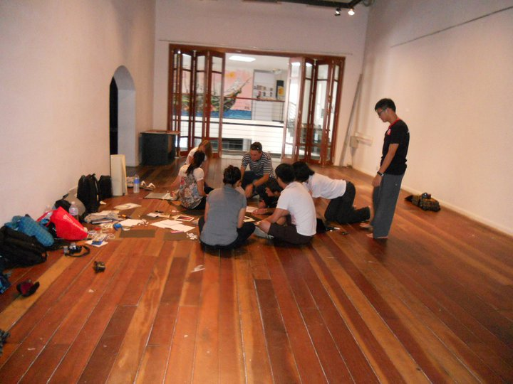 The team hard at work setting up the venue.