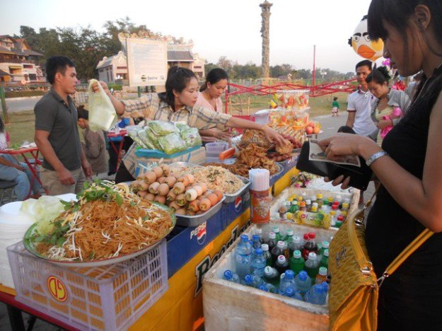 More street foods near a playground overlooking the Mekong River @ Vientienne, Laos.